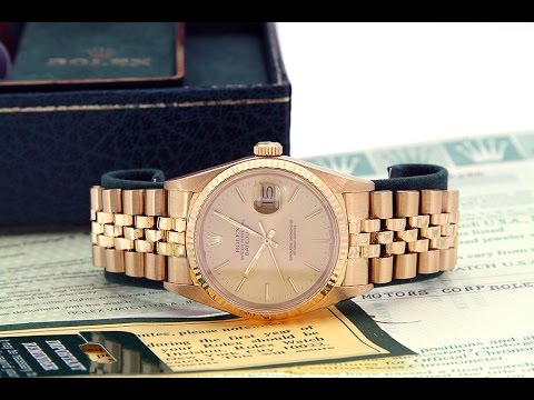 e215bf3d9831 Rolex Solid Gold 18K Datejust Buick Watch Mens 16018 - YouTube