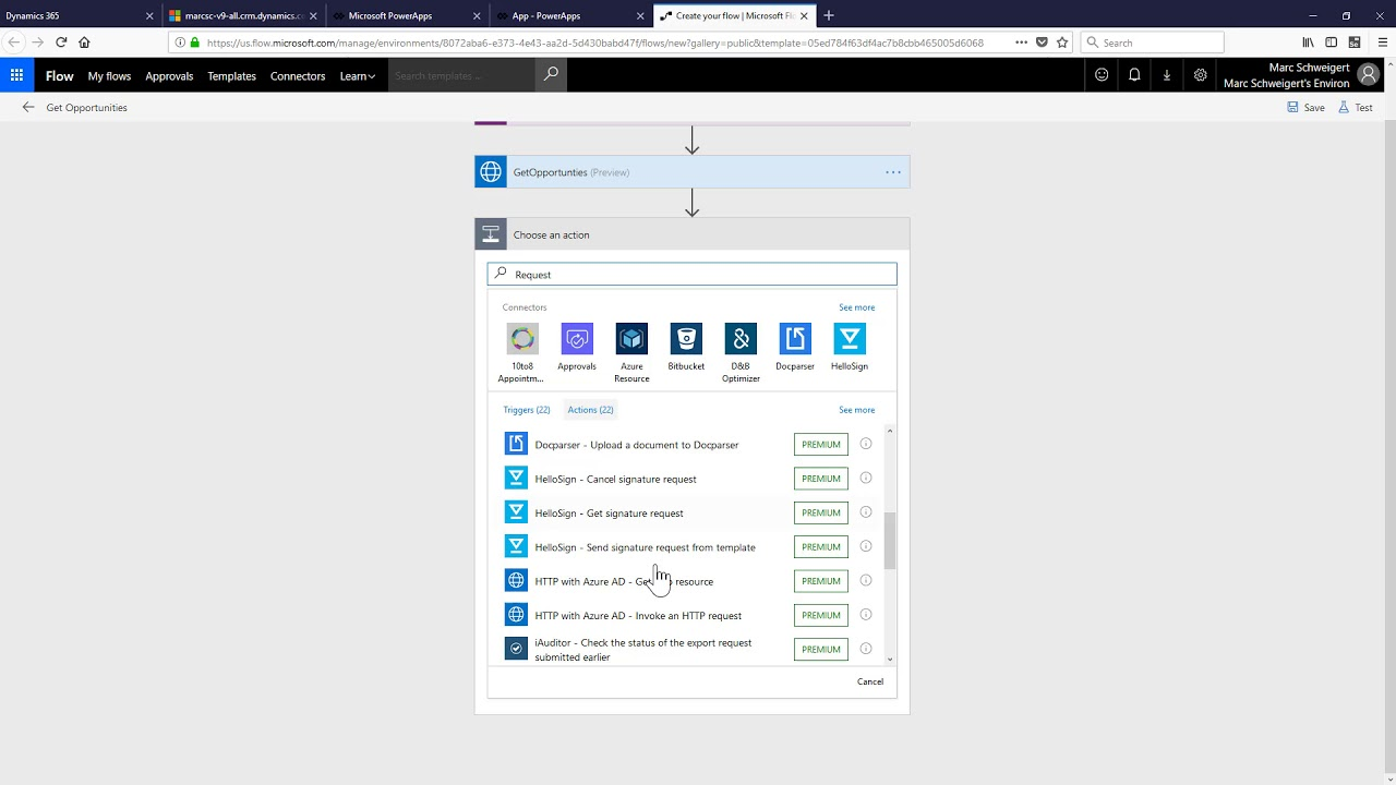 Calling an Azure AD secured REST API from PowerApps using Flow