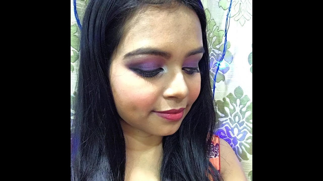 Purple Smokey Eye Makeup With Full Face