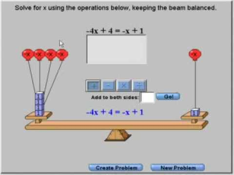 Using a balance beam to solve negative equations - YouTube
