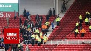 Football fans fight at Middlesbrough v Sheffield United - BBC News