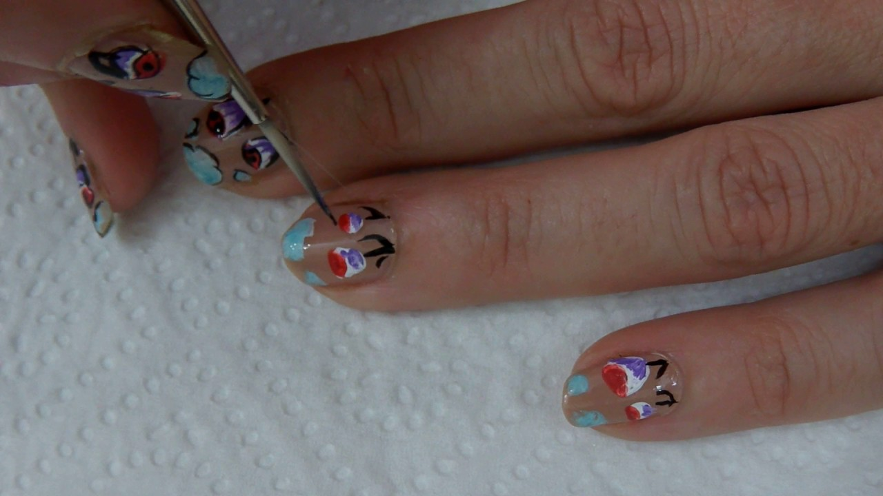 Tutorial Uñas Decoradas Nail Art Nº 103 Flores Y Nubes Youtube