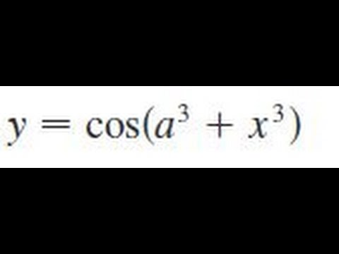 y = cos(a^3 + x^3), Find the derivative of the function.