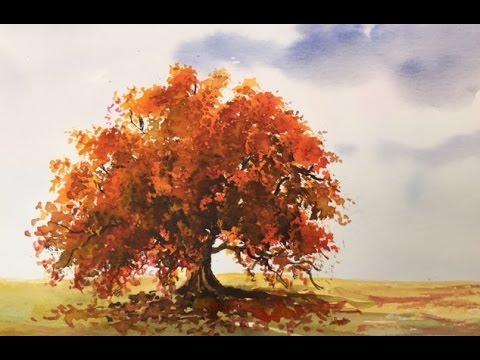 осень акварель картинки