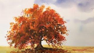Осень #1Дерево. Акварель  Autumn Tree in watercolour