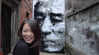 Red - Zhang Yimou Portrait made of socks, bamboo sticks and pins