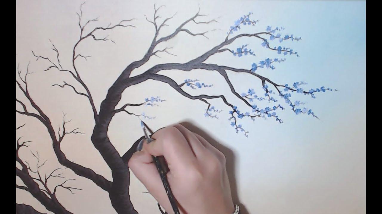 Arbre En Fleurs Peinture Acrylique Youtube