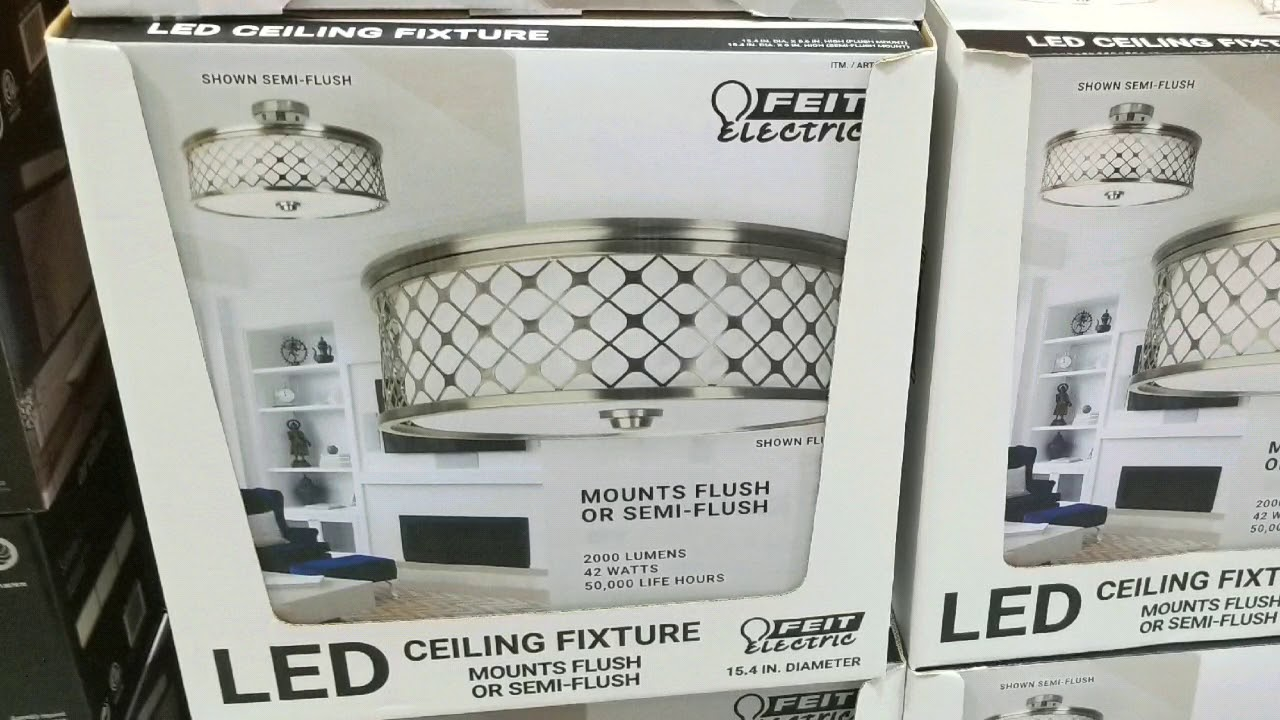 Costco Feit Led Semi Flush Mount Ceiling Fixture 39 Youtube