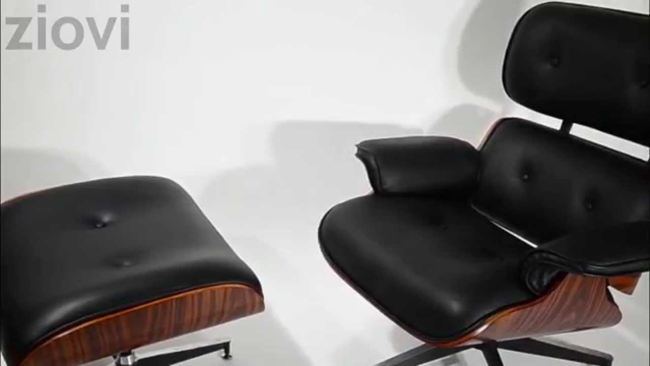 ziovi eames style rosewood leather lounge chair and ottoman youtube