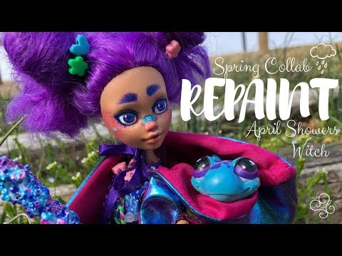 REPAINT || April Showers Witch || Spring Collab OOAK MH Doll