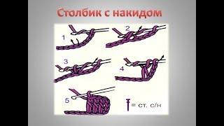 Уроки вязания крючком для начинающих. Столбики с 1 накидом. Урок №3.