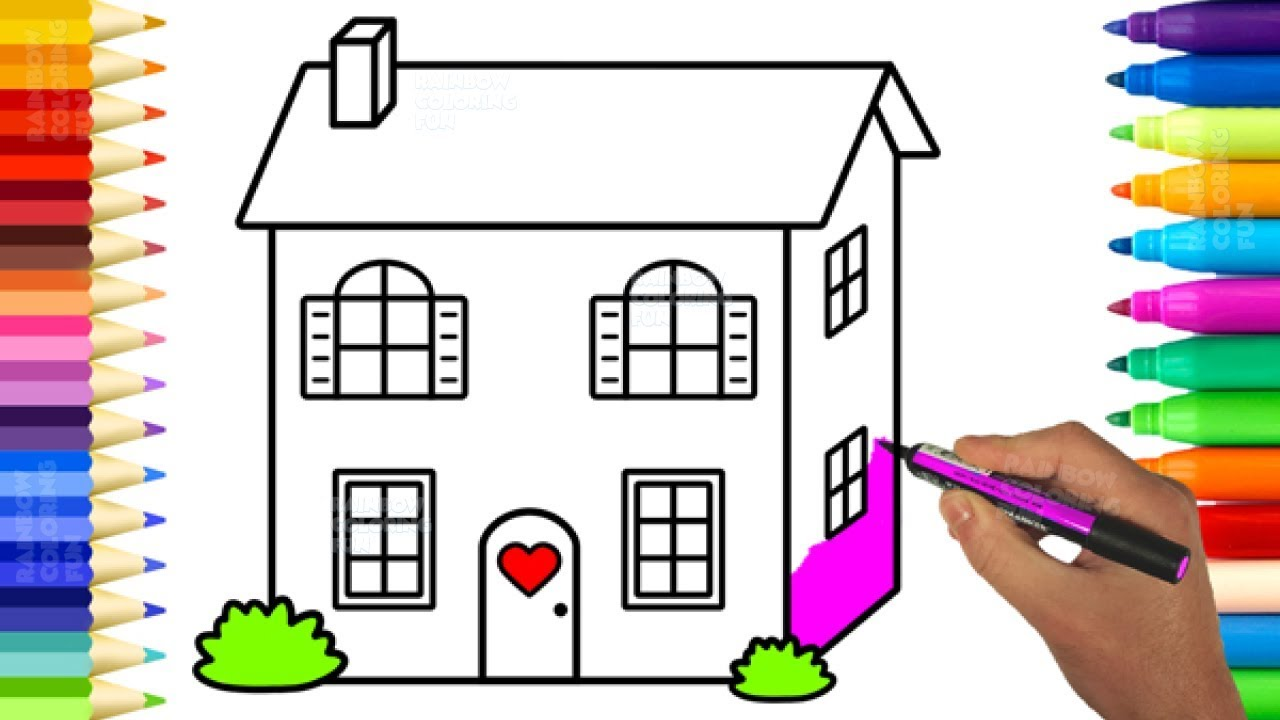 Cute Baby Doll House Coloring Pages - Learn Colors and Drawing for ...