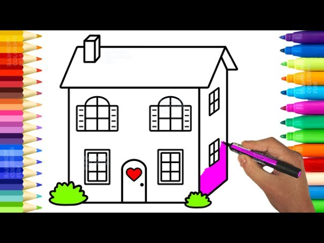 Rainbow Coloring Fun Cute Baby Doll House Pages Learn Colors And Drawing For Kids
