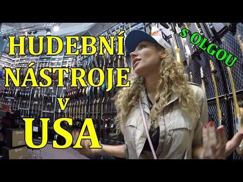 Olga Lounová zkouší Kytary v USA ||  OBCHOD s HUDEBNÍMI NÁSTROJI v USA