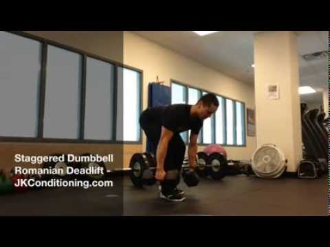 staggered dumbbell romanian deadlift youtube