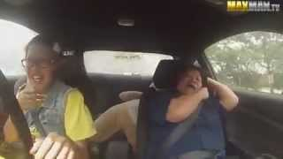 Disguised female pro driver terrifies passengers during test drive