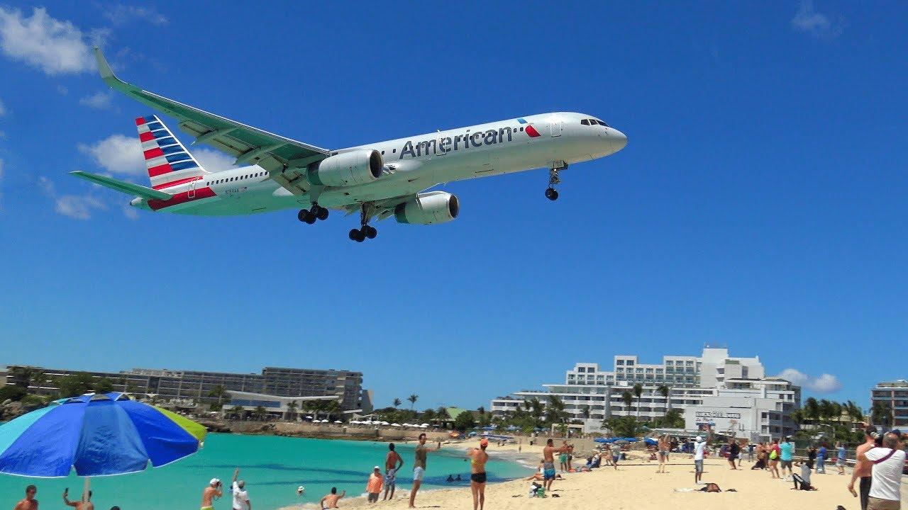 Saint Martin Atterrissage Spectaculaire D Avion Maho Beach Aeroport Juliana Princess Youtube