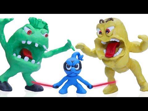 CLAY MIXER NINJA DEFEATS MONSTERS 💖 Play Doh Stop Motion Cartoons