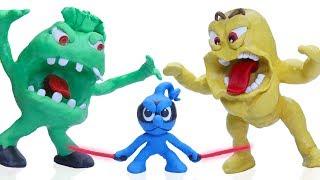 CLAY MIXER NINJA DEFEATS MONSTERS Play Doh Stop Motion Cartoons Nin...