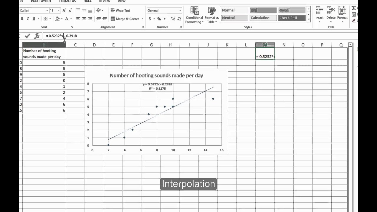 Excel: Scatterplot and correlation