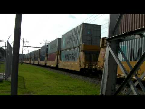 Panama canal Container train thru Albrook with friendly engineer and nice K5LA