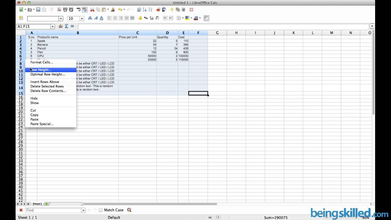 Formatting Of Cells In Table In Libreoffice Openoffice Calc Word Wrap Optimal Row Height
