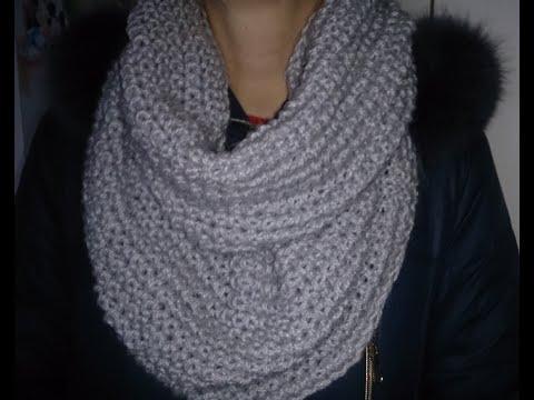 ВЯЗАНИЕ ДЛЯ НАЧИНАЮЩИХ!МОДНЫЙ двухсторонний СНУД!Быстро и просто.knitting,KNITTED SNOOD