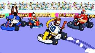 LOL KART мультяшные герои из комиксов и жизни ГОНЯЮТ на ТАЧКАХ онлайн гонки ВИДЕО игра #длядетей