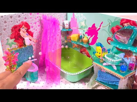 DIY Miniature Frozen Bedroom and Ariel Bathroom ~ Mermaid Dollhouse