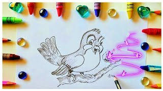 How to draw liтtle Bird looking at his food easy and Simple Drawings shintos