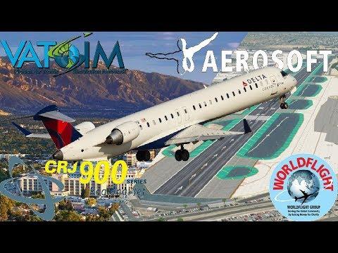 Aerosoft/DA CRJ-900 during WorldFlight. Salt Lake City to San Diego