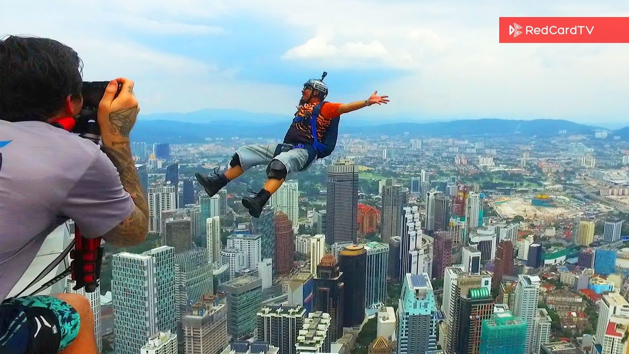 For A Base Jump Daily Vlog KL Malaysia YouTube - Crazy guy base jumps radio tower