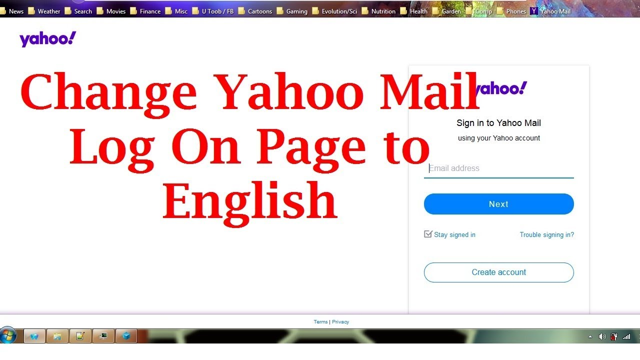 How To Make Yahoo Mail Login Page English - YouTube