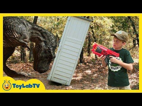 Giant Dinosaurs Nerf Challenge! Life Size T-Rex Dinosaur Chase & Jurassic World Fallen Kingdom Toys