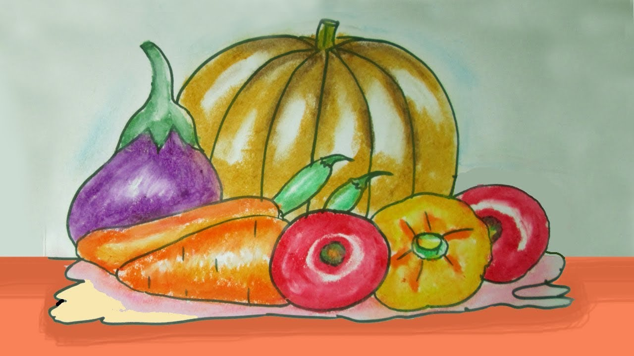 How To Draw Composition Of Vegetables Youtube