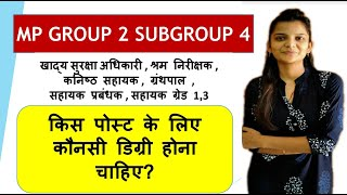Mp Group 2 Subgroup 4 2020|Mp Group 2 Subgroup 4 Eligibility Criteria|Mp Govt Jobs 2020|Mp Jobs 2020