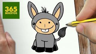 COMO DIBUJAR UN BURRO PARA NAVIDAD PASO A PASO: Dibujos kawaii navideños - How to draw a donkey