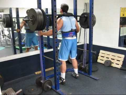 Rack Assisted Safety Squat Bar Squats With Mini Bands