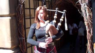 Female Scottish Bagpiper Festival Fringe Edinburgh Scotland