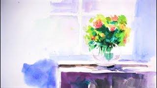 수채화 정물화 - 화병그리기, 꽃그리기, waterco…