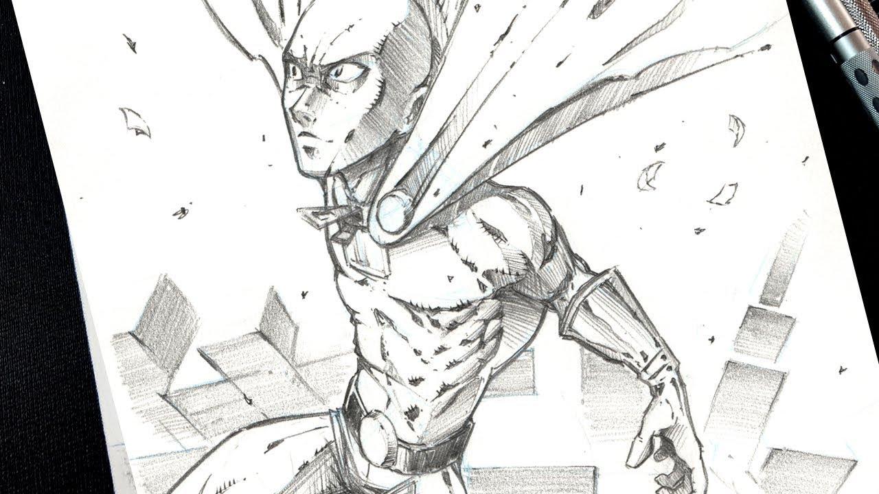 Saitama one punch man fan art pencil drawing