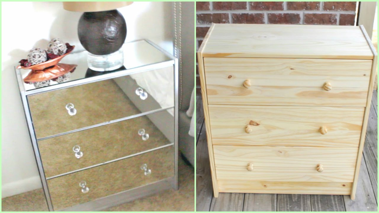 Old Ikea Nightstands DIY | Mirrored Nightstands (IKEA HACK!!!) - YouTube