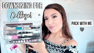 PACK WITH ME | Makeup I'm Bringing to College | Jackie Ann
