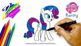 Rarity | Cara Menggambar Dan Mewarnai Gambar Kuda Poni Untuk Anak
