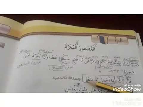 عربي شرح واستخراج درس العصفور المفرد صف ثاني Youtube