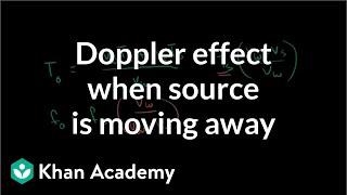 Doppler effect formula when source is moving away | Physics | Khan Academy