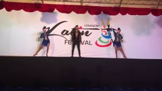 One man two girls salsa dance trio booming performance