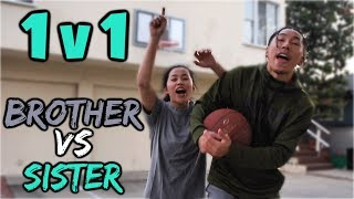 SISTER vs. BROTHER 1v1 SHOOTING CHALLENGE