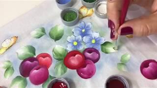 Aprenda a Pintar Cerejas Flores e Borboletas