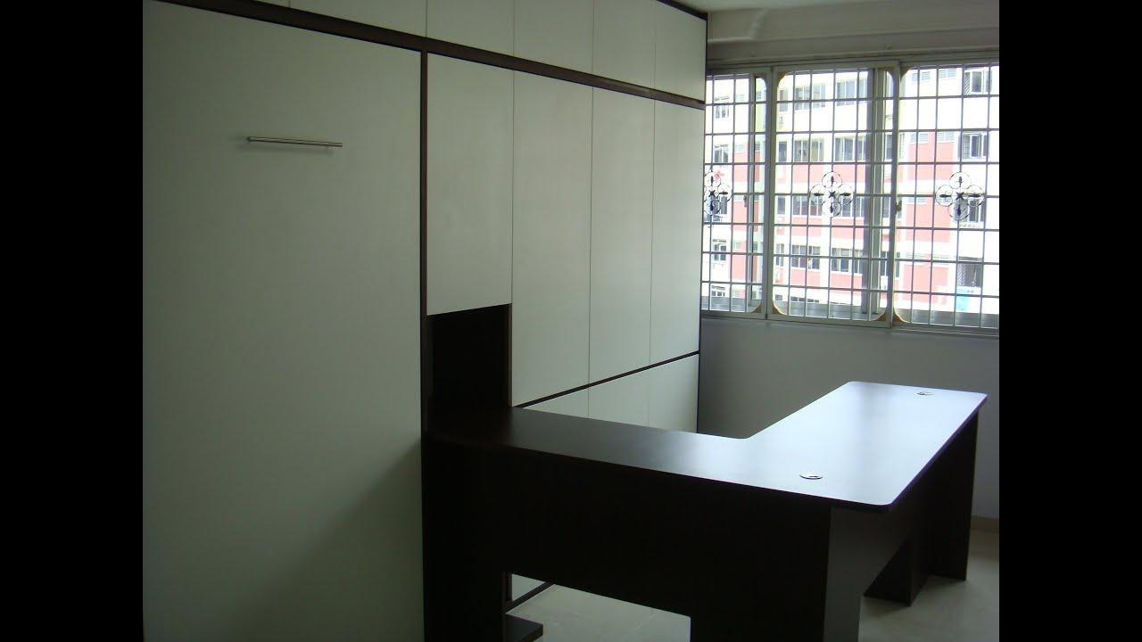 HDB HomeOffice WorkStation +Guest Rm.Teck  Whye Blk116 HWB V1080 S.Single+Wardrobe,Table Hidden Bed   YouTube